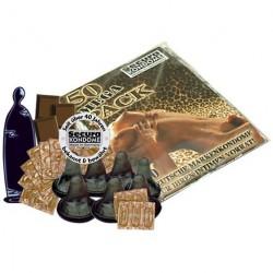 EMBALAGEM COM 50 PRESERVATIVOS DE CHOCOLATE